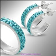 Sterling Silver Swarovski Crystal set Hoop Earrings